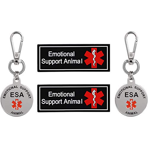 Double Sided Medical Alert Symbol ESA ID Tag and ESA Personalized Patches with Hook Backing for Emotional Support Animal,in Traning,Do Not Pet, Therapy Dog for Vest Harnesses,Collars,Leashes,4Piece (Emotional Support Animal Patch)