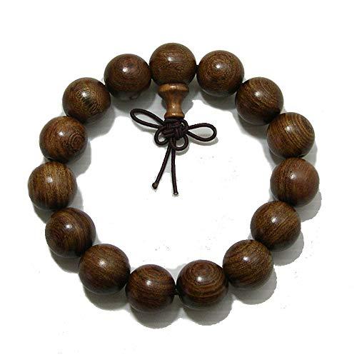 xMantra Man Woman Tibetan Buddhist 15mm Nyatoh Wood Beads Fo Kwan-yin Mala Meditation Wrist Bracelet Yoga Bracelet