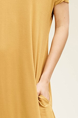 Maxi Neck with Bronze Long Split Annabelle Short V Pockets Dresses Sleeve Women's w0qFxxznEP