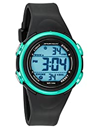 Unisex Watches by Sportech - Black and Mettallic Turquoise Digital Sport Watch - Make Every Second Count - SP11007