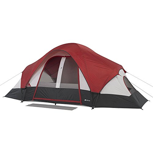 Family Camping Tent 8-Person 2 Rooms with Separate Doors. Waterproof Roomy Fits Up to 2 Queen Size Instant Dome 16'x8'. Great Choice for Camping Hiking Fishing Hunting Beach Outdoor Festival Picnic ()