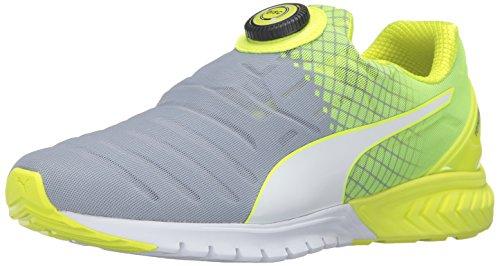 PUMA Men's Ignite Dual Disc Running Shoe, Quarry/Safety Yellow, 8.5 M US