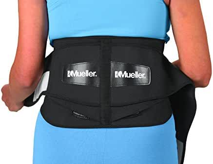 Mueller 255 Lumbar Support Back Brace with Removable Pad, Black, Regular(28
