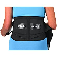 "Mueller 255 Lumbar Support Back Brace with Removable Pad, Black, Regular(28"" - 50"" waist)"