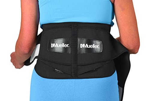 - Mueller Lumbar Support Back Brace with Removable Pad, Black, Regular (28