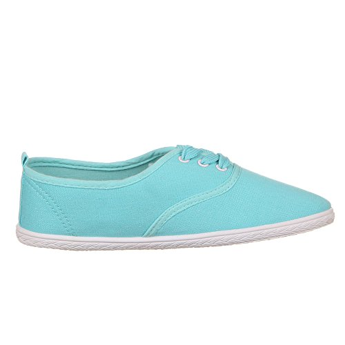 Ital-Design - Zapatos de cordones de tela para mujer Azul - Turquesa
