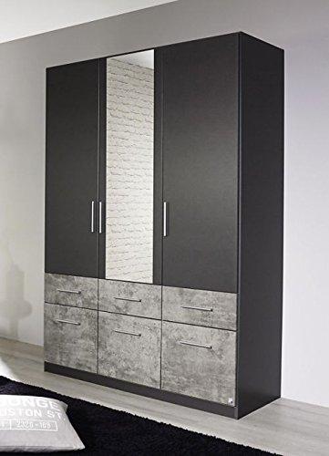 Kleiderschrank grau-metallic 3 Türen B 136 cm Schrank Drehtürenschrank Wäscheschrank Spiegelschrank Kinderzimmer Jugendzimmer Schlafzimmer