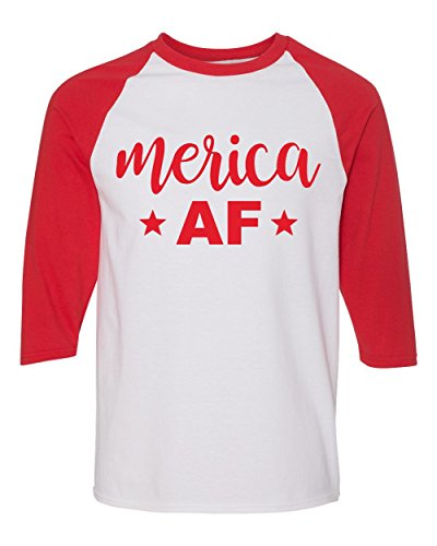 - Merica AF Shirts - 4th of July Baseball T Shirts - Patriotic American Flag Raglans - Murica Tees -S