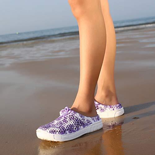 coloré 40 EU Respirant Violet Chaussures ZHRUI à EVA Backless Sabots Flat Fleurs Beach Bleu de Femmes imprimé Taille 7aZwxqa