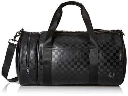 Fred Perry Men's Textured Barrel Bag, Checkerboard Black by Fred Perry