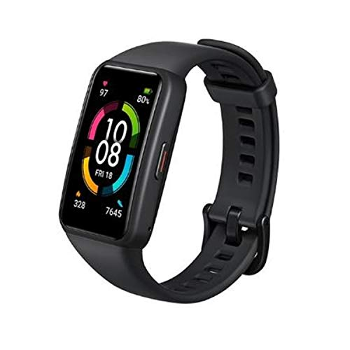 "Honor Band 6 Smart Wristband 1st Full Screen 1.47"" AMOLED Color Touchscreen SpO2 Swim Heart Rate Sleep Nap Stress All-in-One Activity Tracker 5ATM Waterproof Standard Version (Meteorite Black)"