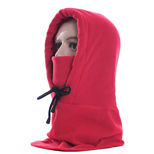 Suphunter Winter Outdoor Fleece Hat Outdoor Sports Windproof Warm Headscarf Hood Bike Cycling Skiing Full Face Mask (red)
