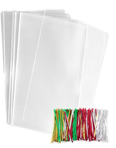 200 Clear Plastic Cellophane Bags 5'' x 11'' with twist ties - 1.2 mil thickness OPP Treat Bags (5'' x 11'') Flat by MoreFiesta