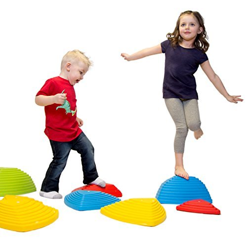 JumpOff Jo Rocksteady Balance Stepping Stones for Kids - Set of 6 Balance Blocks (3 Sizes Included, 2 Small, 2 Large, 2 Extra Large) - Promotes Balance & Coordination (Rooms Outdoor Ideas)