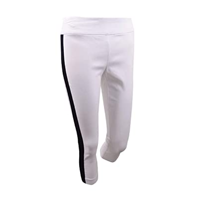 INC International Concepts Women's Plus Side-Stripe Skinny Pants (16W, White) at Women's Clothing store