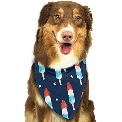 OURFASHION Bomb Pops with Stars On Navy Bandana Pet Scarf Washable Adjustable Triangle Bow Tiess for Pet Dog and Cats -