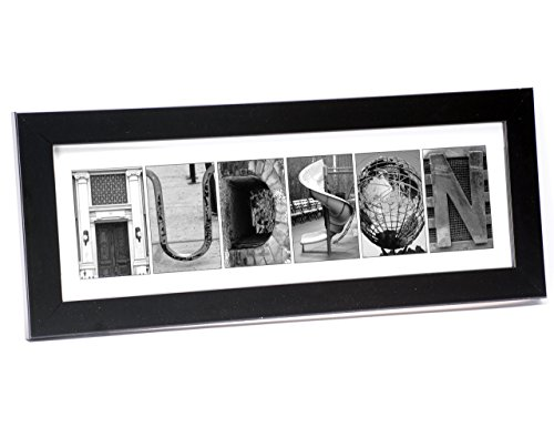 Wall Art Framed Letters - Creative Letter Art - Personalized Framed Name Sign with Black & White Architectural Metal Alphabet Photographs including Black Self Standing Frame
