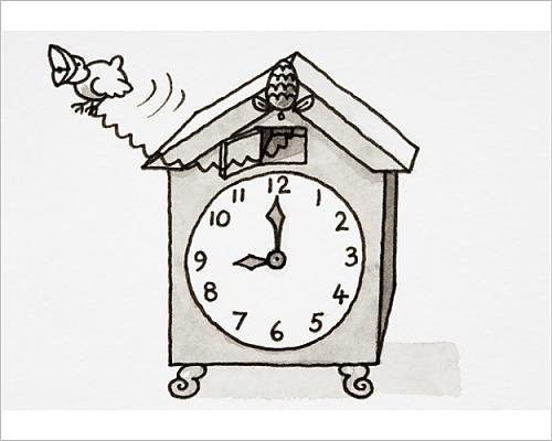 10x8 Print of Cartoon, cuckoo clock with hands pointing to nine o clock (Reproduction Cuckoo Clock)