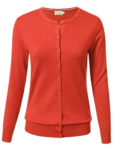 Women Button Down Long Sleeve Crewneck Soft Knit Cardigan Sweater XL ()