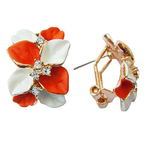 Navachi 18k Gold Plated Crystal White Orange Enamel Leaves Flower Omega -