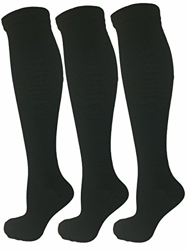 3 Pair Black Small/Medium Ladies Compression Socks, Moderate/Medium Compression 15-20 mmHg. Therapeutic, Occupational, Travel & Flight Knee-High Socks. Women's Shoe Sizes 5-10, Men's Sizes 5-9