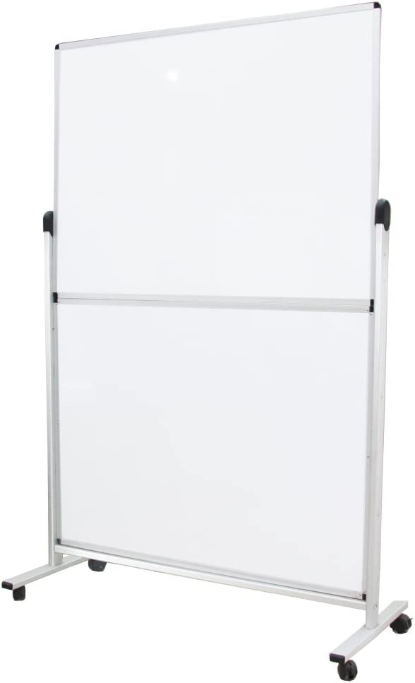 "VIZ-PRO Mobile Room Divider/Office Partition, Double-Sided Magnetic Whiteboard 48"" Wx72 H"
