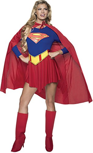 Adult Super Hero Costumes (DC Comics Deluxe Supergirl Costume, Red/Blue, Medium)