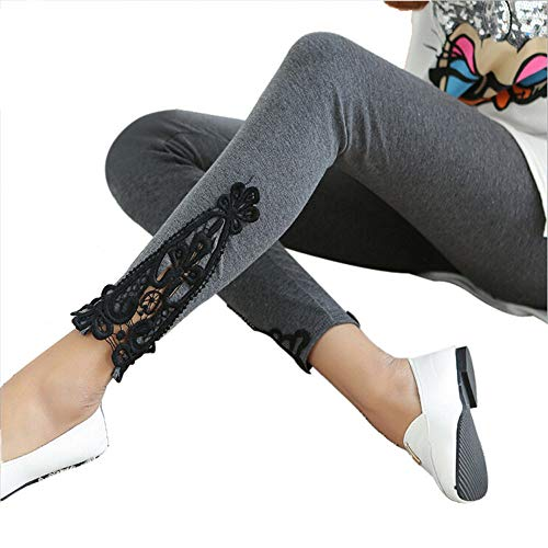 POQOQ Leggings Fashion Autumn Women Leg Triangle Side Lace Super Soft Pants Free Size Dark Gray