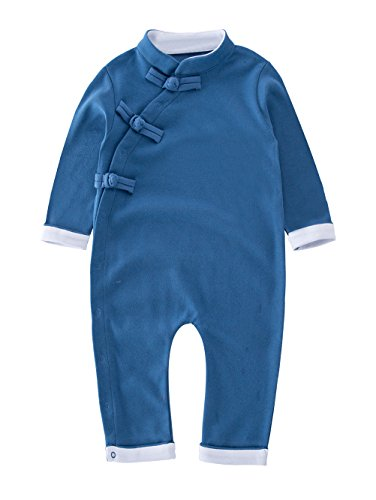 XM Nyan May's Baby Toddler Chinese traditional dish buckle design Romper Onesie Outfit