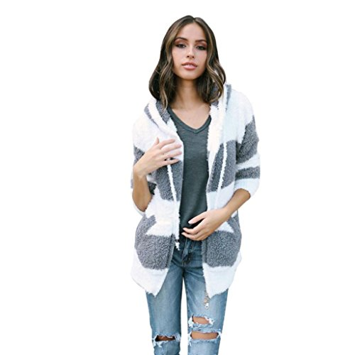Escudo, abrigo,Internet Abrigo de color empalmado con capucha de mujer Chaqueta con capucha Parka Outwear Cardigan Coat Blanco