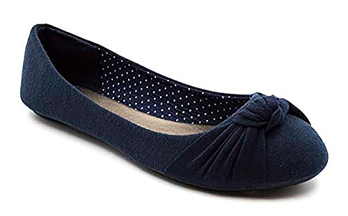 Toe Women's Albert Charles Ballet Canvas Knotted Navy Round Front Flats AY5dwq6d