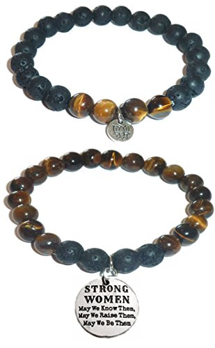 Hidden Hollow Beads Charm Tigers Eye and Black Lava Natural Stone Women's Yoga Beaded Stretch Bracelet Set. COMES IN A GIFT BOX! (Strong Women, May we know them, raise them, be them.)
