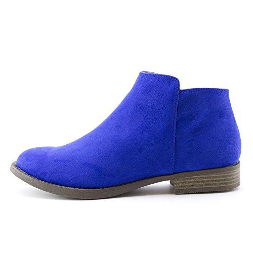 Kali Womens Western Side Zipper Stacked Heel Faux Suede Ankle Booties (Adults) Royal Blue 9vZDjovSN