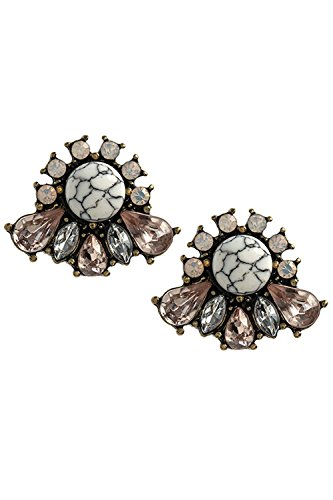 Hip Hop Faux Diamond Stud Earrings (BAUBLES & CO MIXED FAUX JEWEL EARRINGS (White))