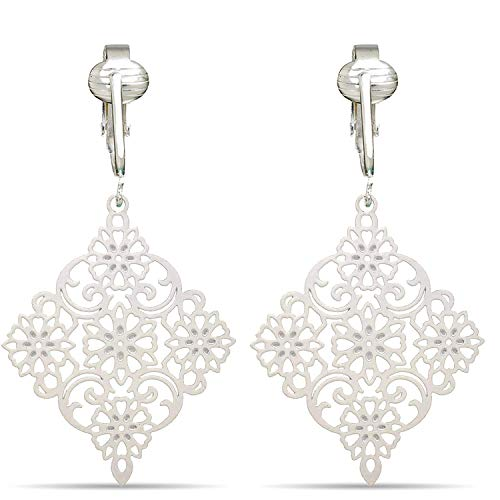 (Lovely Victorian Filigree Clip On Earrings for Women Clip-ons, Lightweight Teardrop Leaf Dangle (White Drop))