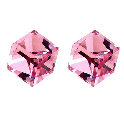 (Cube Earrings Stud- Rose Pink Crystals of SWAROVSKI Elements (Cubic Zirconia))