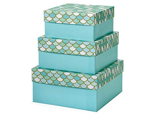 Tkdream Mermaid's Paradise Nested Gift Boxes 3 Piece Square Large Set of 3 from Tkdream