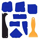CAVLA 9 pieces Caulking Tool Kit 3 in 1 Caulking Tools Silicone Sealant Finishing Tool Grout Scraper Caulk Remover Caulk for Bathroom Kitchen Room Sealing and Frames Sealant Seals (Blue)
