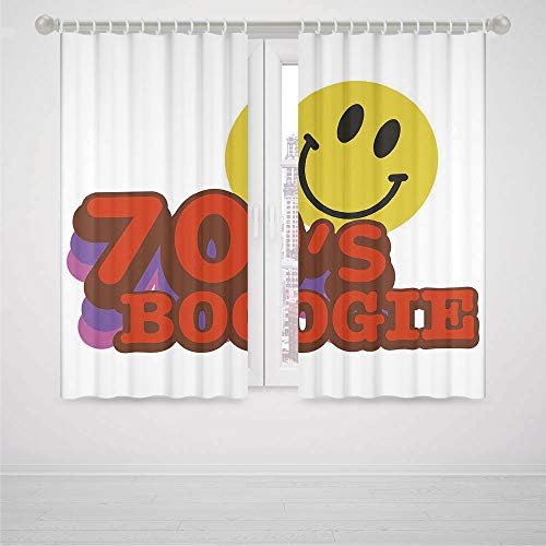 Maroon Blackout Curtains 70s Party Decorations 70s Boogie Funny Smiling Emoticon Humorous Amusing Vibrant Decorative High-Precision Blackout CurtainYellow Red Purple