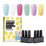 Lagunamoon Gel Nail Polish Set Gel Nail Soak Off Nail Art Manicure Varnish Set with Gift Box 6pcs 8ML Require LED UV Nail Dryer Lamp-Lighten the mood