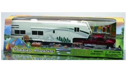 Fifth Wheel Camper - Collectible Diecast 1:32 Scale Ford Dually Pickup Model Toy Truck Replica with Fifth Wheel Camper Trailer & Camping Adventure Set with Accessories for Hobbyists, Collectors, & Kids, Red/Multicolor, 21 x 4.75 x 3 Inches