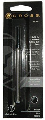 12 x Cross Slim Gel Rolling Ball Pen Refill, Black Medium, 1 per card (8910-1)