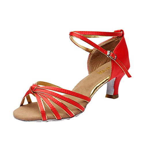 DorkasDE Damen Mädchen Tanzschuhe Latein Tanzschuhe Ballsaal Latein Tanz Schuhe mit 5/7cm Absatz G Rot 5cm Absatz