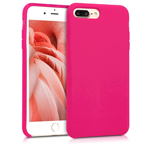 kwmobile TPU Silicone Case for Apple iPhone 7 Plus / 8 Plus - Soft Flexible Rubber Protective Cover - Neon Pink