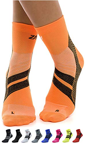 ZaTech Plantar Fasciitis Sock, Compression Socks (Orange/Black, Medium)