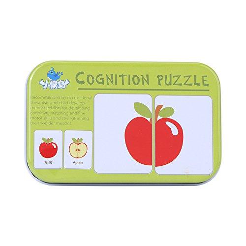 32Pcs Puzzle de Tarjeta Flash Tarjeta de Educativo Infantil para Bebés y Niños Tarjetas de Transportes Animales Frutas y...