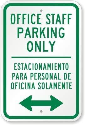 (Lilyanaen New Metal Sign Aluminum Sign Office Staff Parking Only Estacionamiento para Diamond Grade Garage Home Yard for Outdoor & Indoor 8