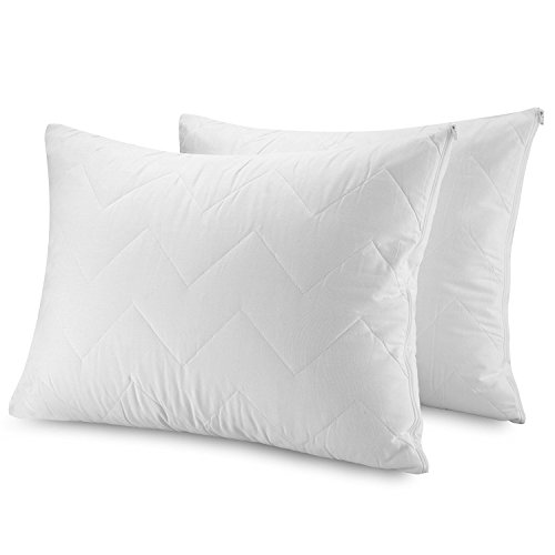 "Waterguard Waterproof Pillow Protectors Bed bug Control - Zippered Quilted Style Pillow Covers 2 Pack – Standard Size (20x26"") 100% Cotton Top Pillow Encasement - Set Of 2"