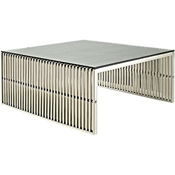 High Quality Modway Gridiron Stainless Steel Coffee Table With Tempered Glass Top