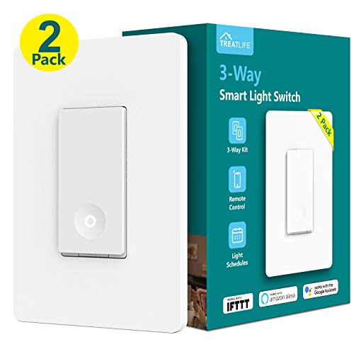 (Treatlife 3-way Smart Light Switch WiFi Light Switch Single Pole/3-way Switch Remote Control, Works With Alexa, Google Assistant and IFTTT, Schedule, No Hub Required, ETL Listed, Neutral Wire Required)